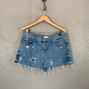 Zara destroyed denim skort size 10